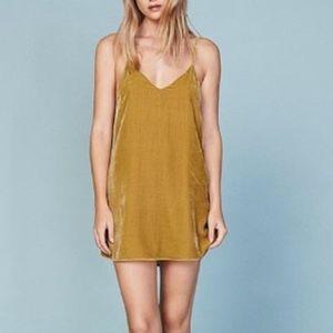 Reformation Marlee gold velvet sleeveless dress